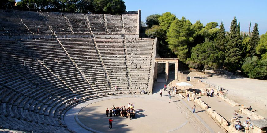 The Theater of the sanctuary of Asklepios at Epidaurus is a miracle of beauty with exceptional acoustics.