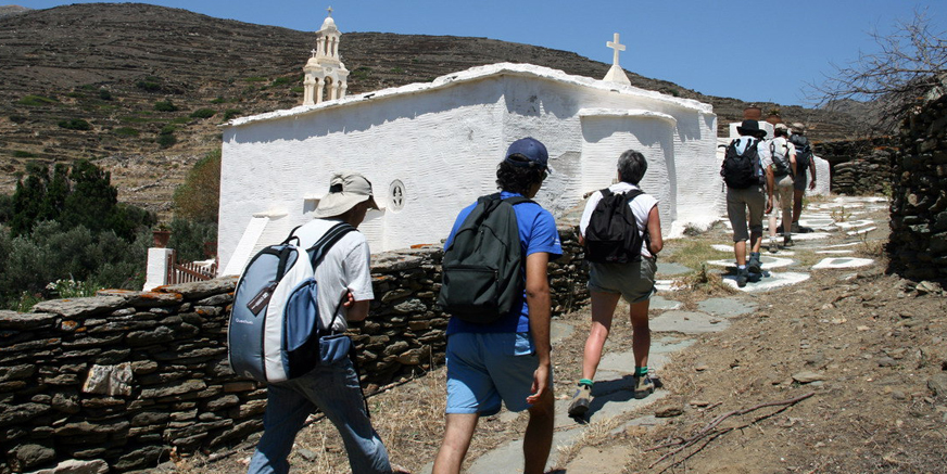 Hiking on Tinos at summer time.